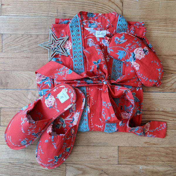 Parisian Rouge Kimono, Slipper & Eye Mask Set