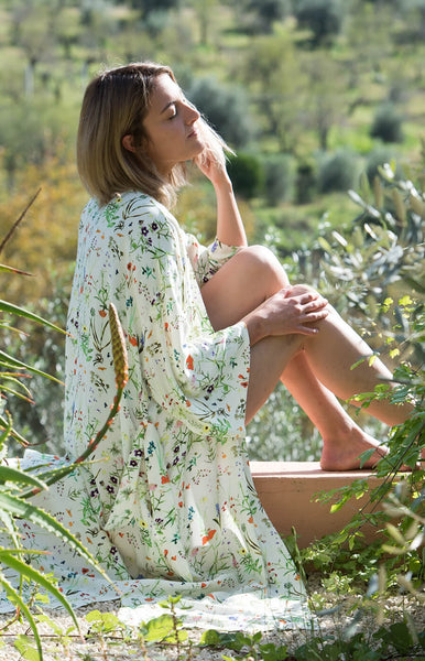 Wildflower Cream Long Kimono
