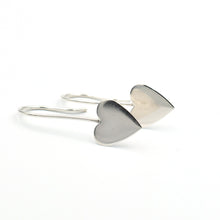 Load image into Gallery viewer, Solid silver heart shaped earrings
