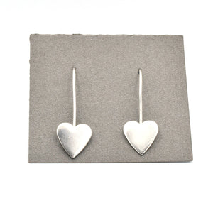 Solid silver heart shaped earrings