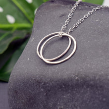 Load image into Gallery viewer, Two circle silver karma necklace