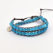 Load image into Gallery viewer, Turquoise jade double wrap bracelet