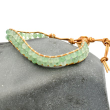 Load image into Gallery viewer, Green aventurine leather wrap bracelet