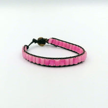 Load image into Gallery viewer, Pink cat's eye wrap leather bracelet