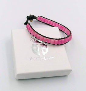 Pink cat's eye wrap leather bracelet