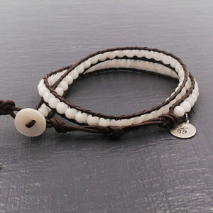 White jade double wrap bracelet