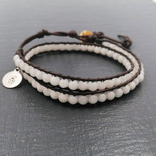 Load image into Gallery viewer, White jade double wrap bracelet