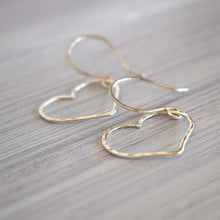 Load image into Gallery viewer, Silver heart earrings