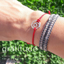 Load image into Gallery viewer, Silver Gratitude red cord bracelet