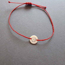 Load image into Gallery viewer, Silver disc Gratitude red cord bracelet