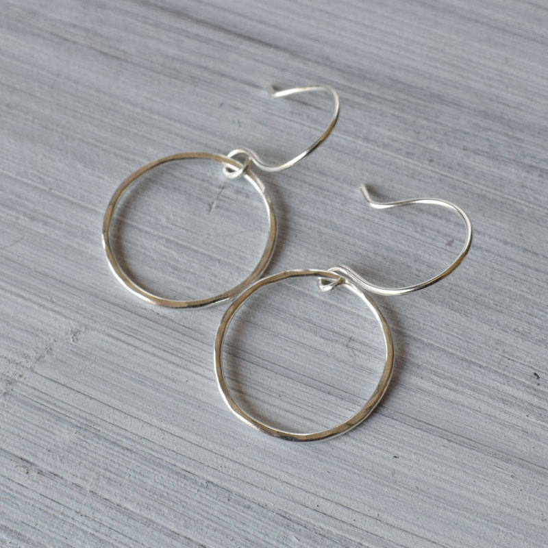 Silver circle karma earrings