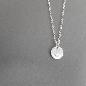 Silver Gratitude disc necklace