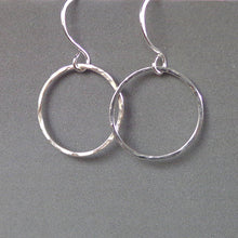 Load image into Gallery viewer, Silver circle karma earrings