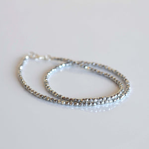 Silver crystal choker necklace
