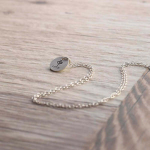 Stamped silver Yoga necklace