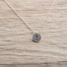 Load image into Gallery viewer, Stamped silver Yoga necklace