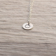 Load image into Gallery viewer, Silver disc stamped circle necklace