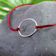 Load image into Gallery viewer, Silver karma deep red cord bracelet