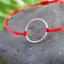 Load image into Gallery viewer, Silver karma red cord bracelet