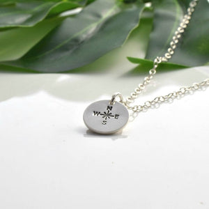 Silver compass disc necklace