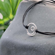 Load image into Gallery viewer, Silver Gratitude black cord bracelet