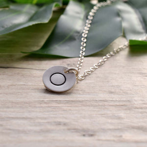 Silver disc stamped circle necklace