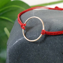 Load image into Gallery viewer, Gold Karma red cord bracelet