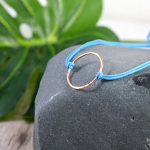 Load image into Gallery viewer, Gold Karma turquoise blue cord bracelet