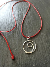 Load image into Gallery viewer, Silver gratitude red cord necklace