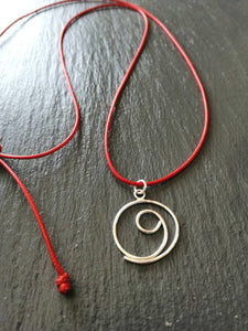 Silver gratitude red cord necklace