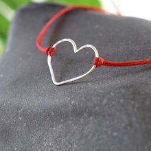 Load image into Gallery viewer, Silver heart red cord bracelet