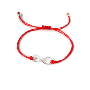 Silver Infinity red cord bracelet