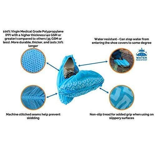 Polypropylene Shoe Covers with Tread, Blue