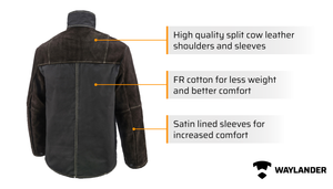 Waylander Welding Jacket Made with Genuine Split Cowhide Leather and Breathable Flame Resistant Cotton; Lined Welding Sleeves