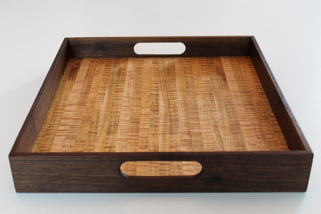 Tiger Maple and Walnut Serving Tray