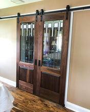 Load image into Gallery viewer, Custom Walnut Doors with Repurposed Leaded Glass