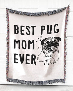 MentionedYou Woven Throw For Pet Lovers Home Decor, Best Mom Of Pug, Cotton Blanket