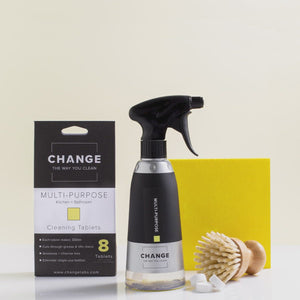 Load and play video in Gallery viewer, Change multi-purpose cleaner is perfect for the kitchen, bathroom and everything in between. No need for single-use plastic bottles when you can refill with change cleaning tablets. The best multi-purpose cleaner Australia it is perfect for all surfaces.