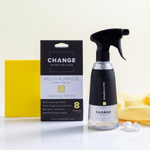 Load image into Gallery viewer, Change multi-purpose cleaner is perfect for the kitchen, bathroom and everything in between. No need for single-use plastic bottles when you can refill with change cleaning tablets. The best multi-purpose cleaner Australia it is perfect for all surfaces.