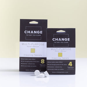 Change multi-purpose cleaner is perfect for the kitchen, bathroom and everything in between. No need for single-use plastic bottles when you can refill with change cleaning tablets. The best multi-purpose cleaner Australia it is perfect for all surfaces.