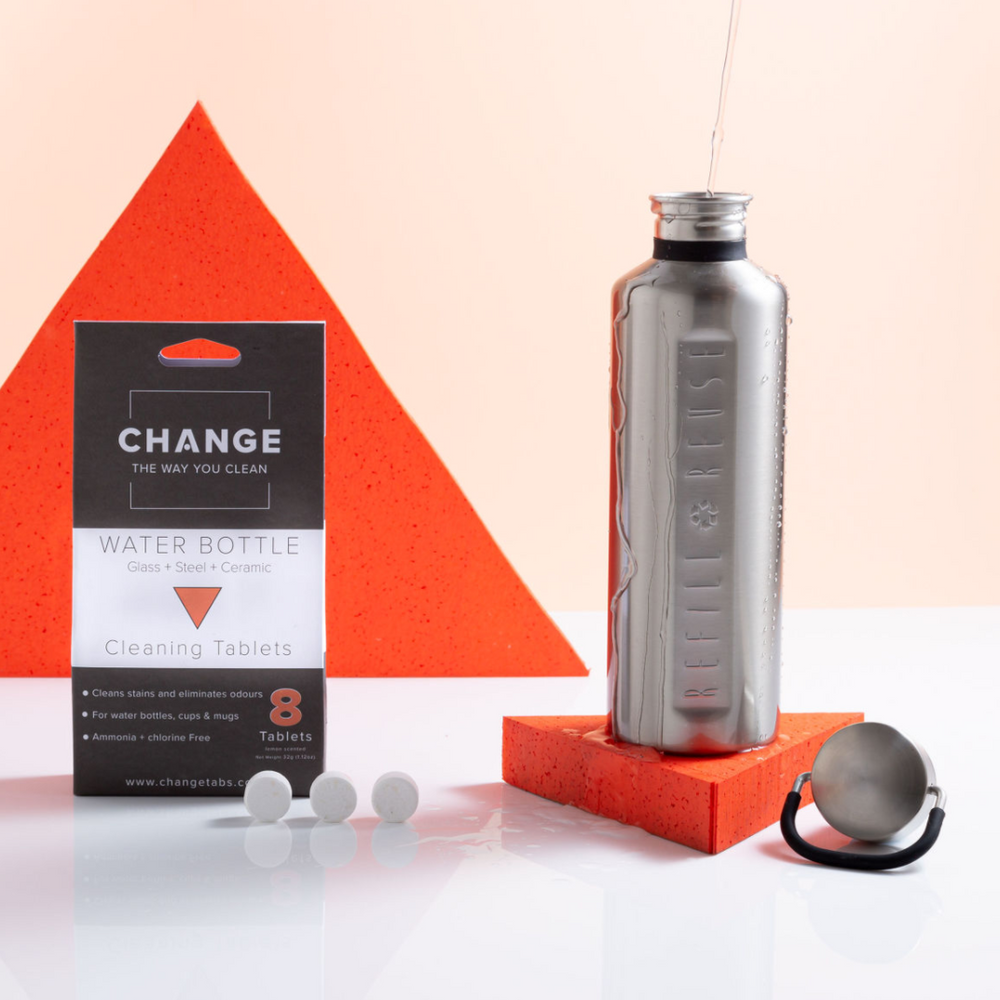 CHANGE water bottle cleaner will remove stains and odours from stainless steel water bottles, insulated water bottles, sports water bottles, glass water bottles, plastic water bottles as well as dirty dishes and pans.