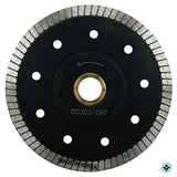 5-Inch Thin Rim Turbo Diamond Blade - Professional Grade - Reinforced on both Sides For Cutting Granite, Ceramic, Marble,