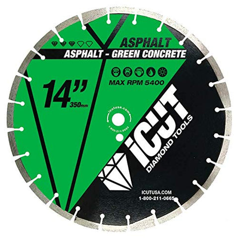 "14"" Asphalt PRO iCut Diamond Blade 10mm High Standard Drop Segment & Undercut Protection, 1""/20mm Arbor - Laser Welded - for Cutting Green Concrete & Asphalt. Para cortar Concreto Verde & Asfalto"