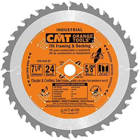 CMT 250.024.07 ITK Industrial Framing/Decking Saw Blade, 7-1/4-Inch x 24 Teeth 1FTG+2ATB Grind with 5/8-Inch<> Bore