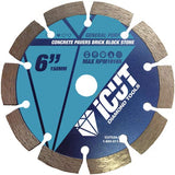 iCut Premium Segmented 10mm Diamond Saw Blade General Purpose for cutting Concrete Block Brick Pavers (6 Inch)