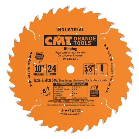 CMT - Industrial Ripping Saw Blade, 10-Inch. x 24 Teeth FTG Grind with 5/8-Inch. Bore, PTFE Coating