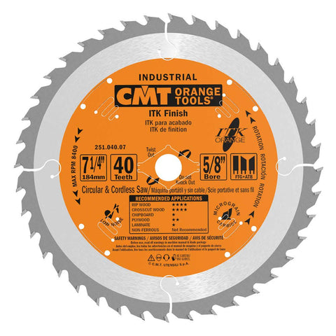 CMT 251.040.07 ITK Industrial Finish Saw Blade, 7-1/4-Inch x 40 Teeth 1FTG+4ATB Grind with 5/8-Inch<> Bore