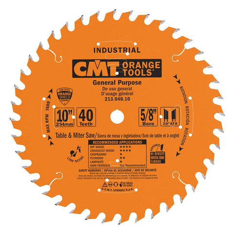 CMT - Industrial General Purpose Saw Blade, 10-Inch x 40 Teeth 20° ATB Grind with 5/8-Inch Bore, PTFE Coating