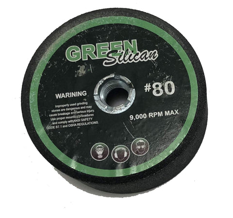 "2 - Pack 4"" Green Silicon Carbide Grinding Stone - for Shaping Terrazo, Marble, Travertine, Granite - Arbor 5/8"" - 11 (Grit 80)"