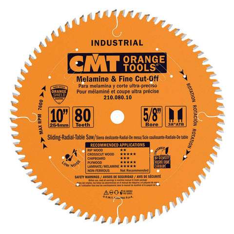CMT - Industrial Melamine & Fine Cut-Off Saw Blade, 10-Inch x 80 Teeth 40° ATB Grind with 5/8-Inch Bore, PTFE Coating